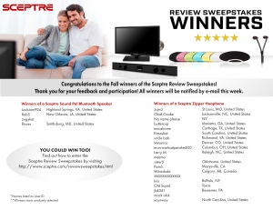 Sceptre Review Sweepstakes Winners  for October